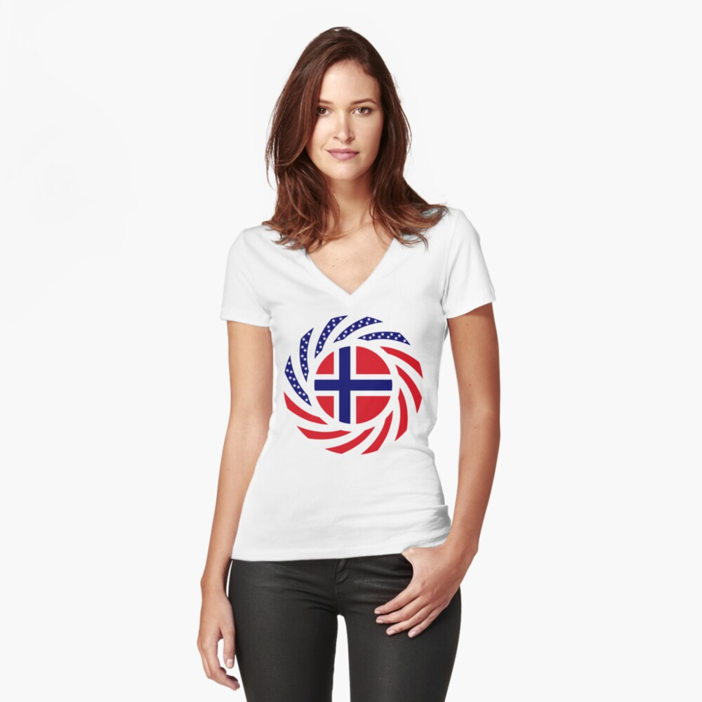 Norwegian American Multinational Patriot Flag Series 1.0 Fitted V-Neck T-Shirt