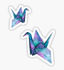 galaxy paper cranes Sticker
