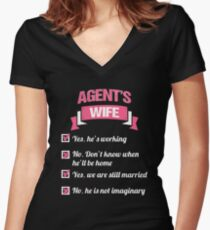 AGENT'S WIFE Women's Fitted V-Neck T-Shirt