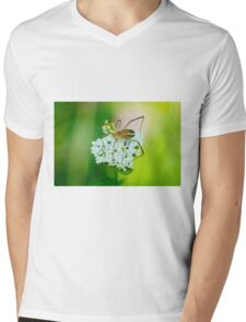 Insect on a white flower macro Mens V-Neck T-Shirt