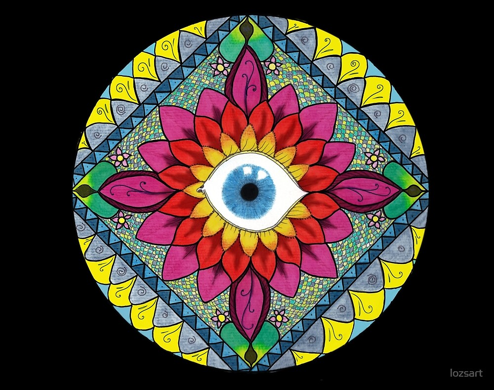 Colorful Eye of Horus Mandala Mosaic Abstract  by lozsart