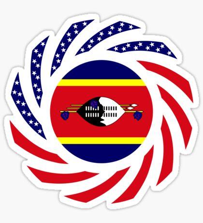 Swazi American Multinational Patriot Flag Series Glossy Sticker