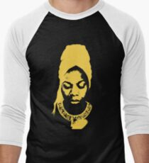 Nina Simone Yellow Men's Baseball ¾ T-Shirt