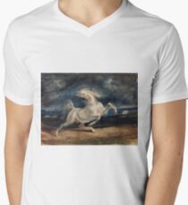 Horse Frightened by Lightning by Eugène Delacroix (1825 - 1829) Men's V-Neck T-Shirt