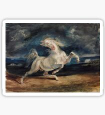 Horse Frightened by Lightning by Eugène Delacroix (1825 - 1829) Sticker