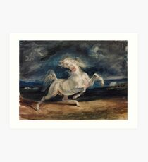 Horse Frightened by Lightning by Eugène Delacroix (1825 - 1829) Art Print