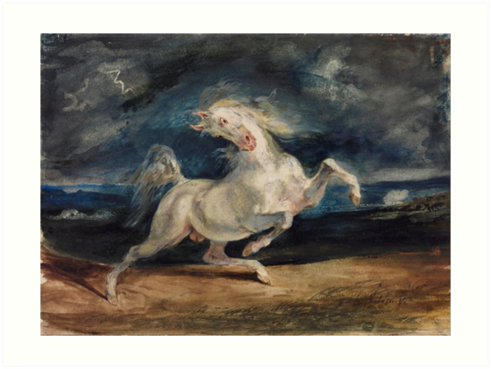 Horse Frightened by Lightning by Eugène Delacroix (1825 - 1829) by allhistory