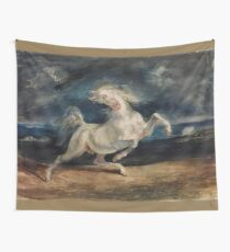 Horse Frightened by Lightning by Eugène Delacroix (1825 - 1829) Wall Tapestry