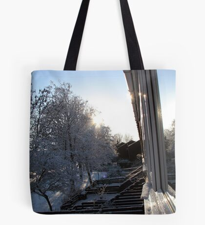 Snow Reflections Sunrise Tote Bag