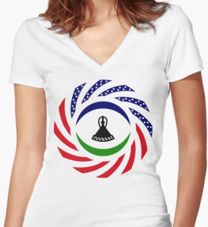 Mosotho American Multinational Patriot Flag Series Fitted V-Neck T-Shirt