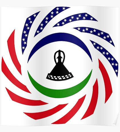 Mosotho American Multinational Patriot Flag Series Poster