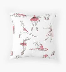 ballerina standing in a pose seamless pattern Throw Pillow