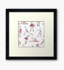 ballerina standing in a pose seamless pattern Framed Print