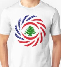 Lebanese American Multinational Patriot Flag Series Slim Fit T-Shirt