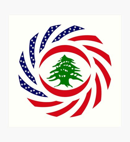 Lebanese American Multinational Patriot Flag Series Art Print
