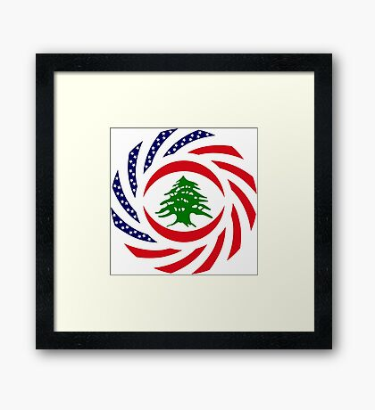 Lebanese American Multinational Patriot Flag Series Framed Print