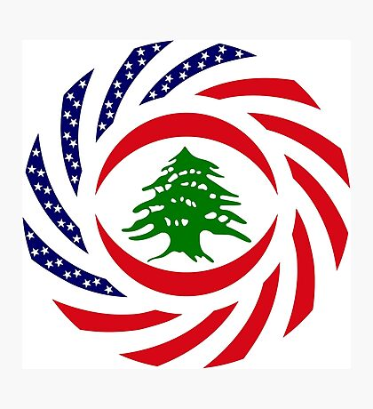 Lebanese American Multinational Patriot Flag Series Photographic Print