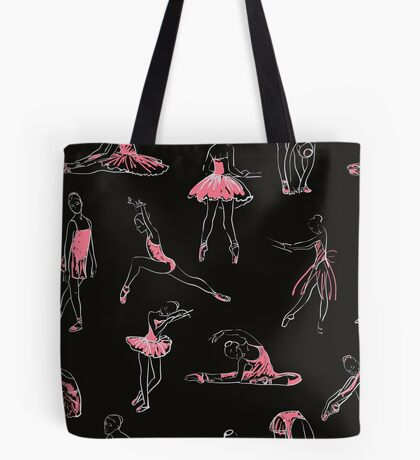 girls ballerina standing in a pose seamless pattern Tote Bag