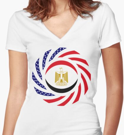 Egyptian American Multinational Patriot Flag Series Fitted V-Neck T-Shirt