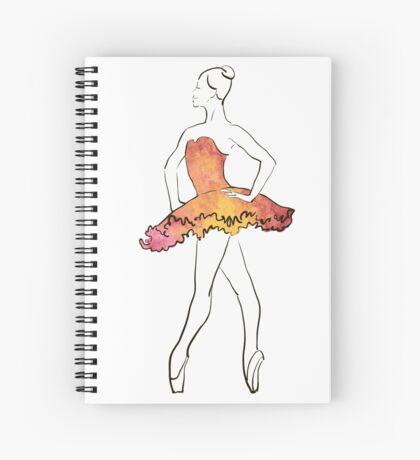 Ballerina-Figur, Aquarellillustration Spiralblock