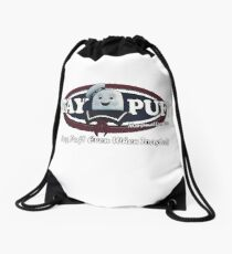 stay puft, logo, ghostbusters, movie, movie t-shirt Drawstring Bag