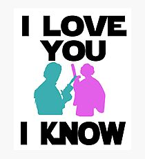 Star Wars Han Solo and Princess Leia 'I love You, I Know' design Photographic Print