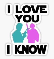 Star Wars Han Solo and Princess Leia 'I love You, I Know' design Sticker
