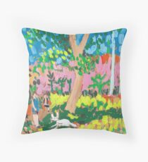 Dog Day in the Park Throw Pillow