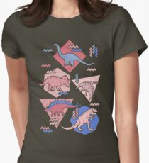 90's Dinosaur Pattern - Rose Quartz and Serenity version Womens Fitted T-Shirt