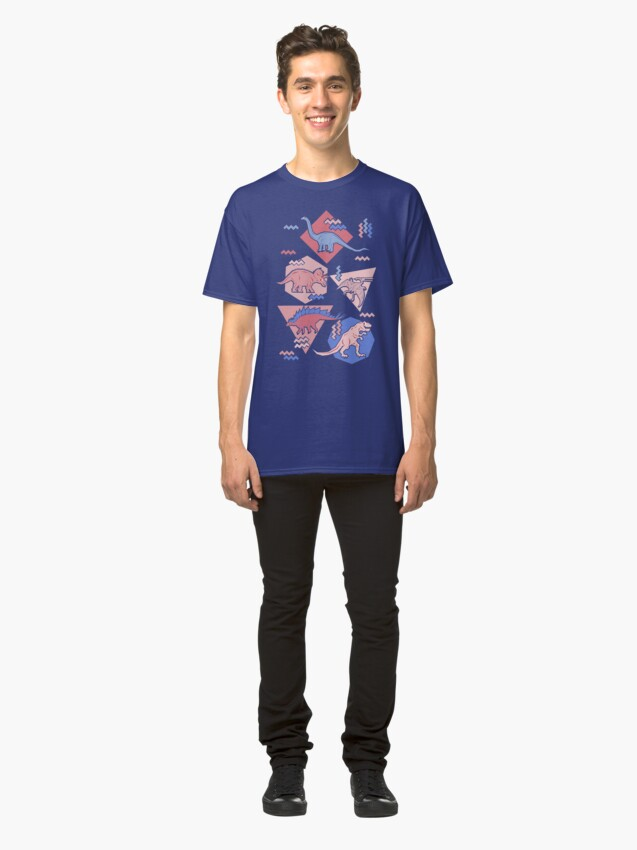 Alternate view of 90's Dinosaur Pattern - Rose Quartz and Serenity version Classic T-Shirt