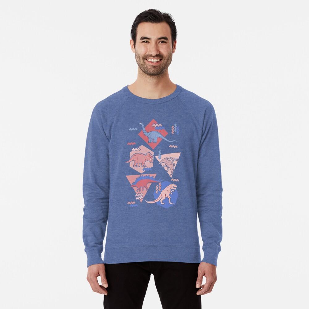 90's Dinosaur Pattern - Rose Quartz and Serenity version Lightweight Sweatshirt