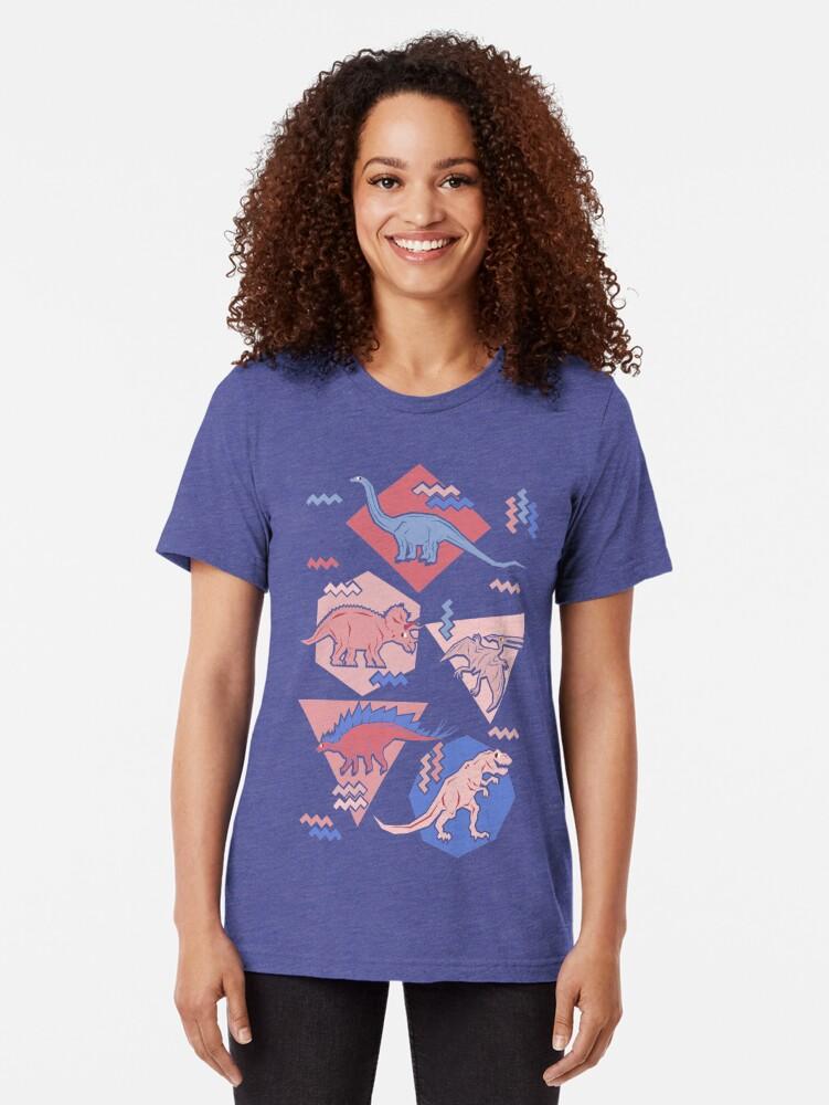 Alternate view of 90's Dinosaur Pattern - Rose Quartz and Serenity version Tri-blend T-Shirt