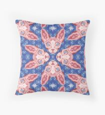Sphynx Cat - Rose Quartz and Serenity version Throw Pillow