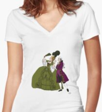 Amazed Rococo couple Women's Fitted V-Neck T-Shirt