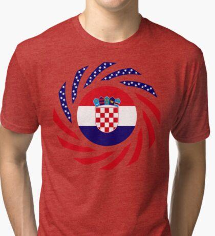 Croatian American Multinational Patriot Flag Series Tri-blend T-Shirt