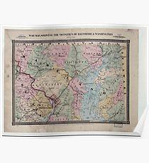 Civil War Maps 1905 War map showing the vicinities of Baltimore Washington Poster