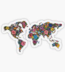 Blumen Weltkarte Transparenter Sticker