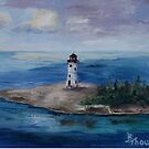 Nassau Harbour Lighthouse Original Painting by Brenda Thour