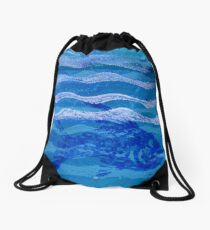 Fish and Waves Monoprint in Acrylic Drawstring Bag