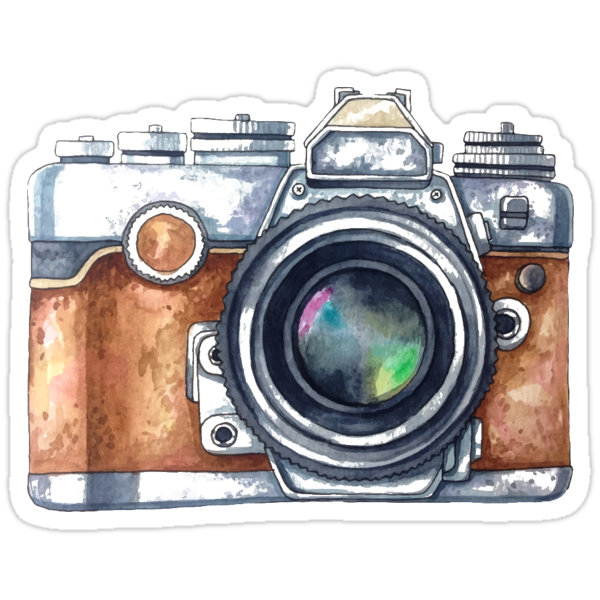 watercolor camera stickers by kristin sheaffer redbubble