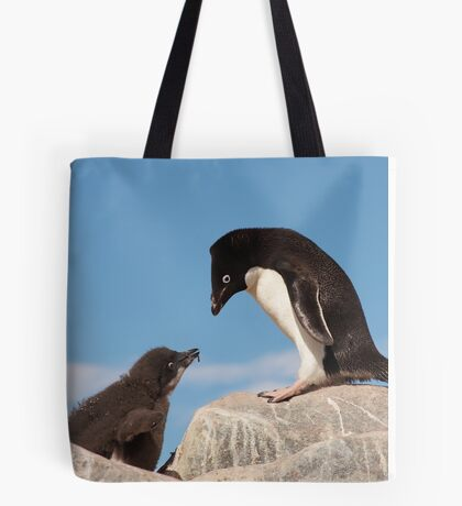"""Adelie Penguin and Chick ~ """"Well......if you say so dad"""" Tote Bag"""