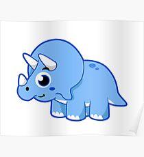 Cute illustration of a Triceratops dinosaur. Poster