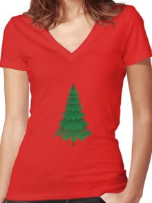 Christmas Tree with Red Background Women's Fitted V-Neck T-Shirt