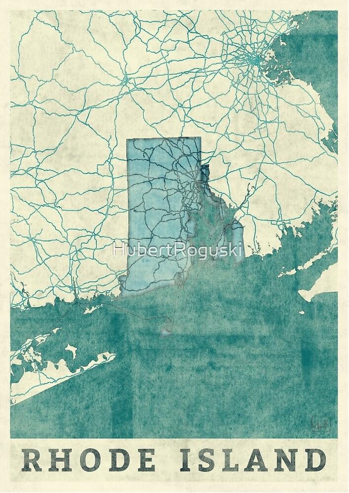 Rhode Island Map Blue Vintage by HubertRoguski