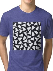 Pattern with Christmas trees Tri-blend T-Shirt