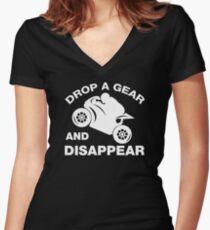 Lassen Sie einen Gang fallen und verschwinden Sie, Radfahrer-T-Shirt Shirt mit V-Ausschnitt