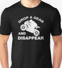 Lassen Sie einen Gang fallen und verschwinden Sie, Radfahrer-T-Shirt Unisex T-Shirt