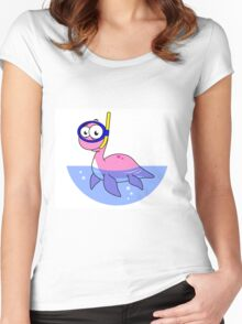 Illustration of a snorkeling Loch Ness Monster. Women's Fitted Scoop T-Shirt