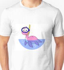 Illustration of a snorkeling Loch Ness Monster. T-Shirt