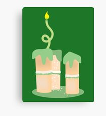 Green birthday cake with candle twirls Canvas Print